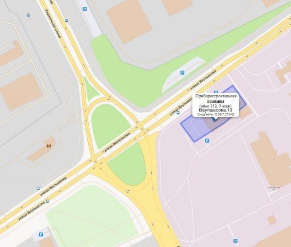 Карта проезда к новому офису ООО 'Приборостроительная компания'
